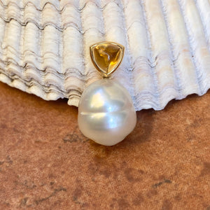 14KT Yellow Gold Golden Citrine + 11mm Paspaley South Sea Pearl Pendant, 14KT Yellow Gold Golden Citrine + 11mm Paspaley South Sea Pearl Pendant - Legacy Saint Jewelry