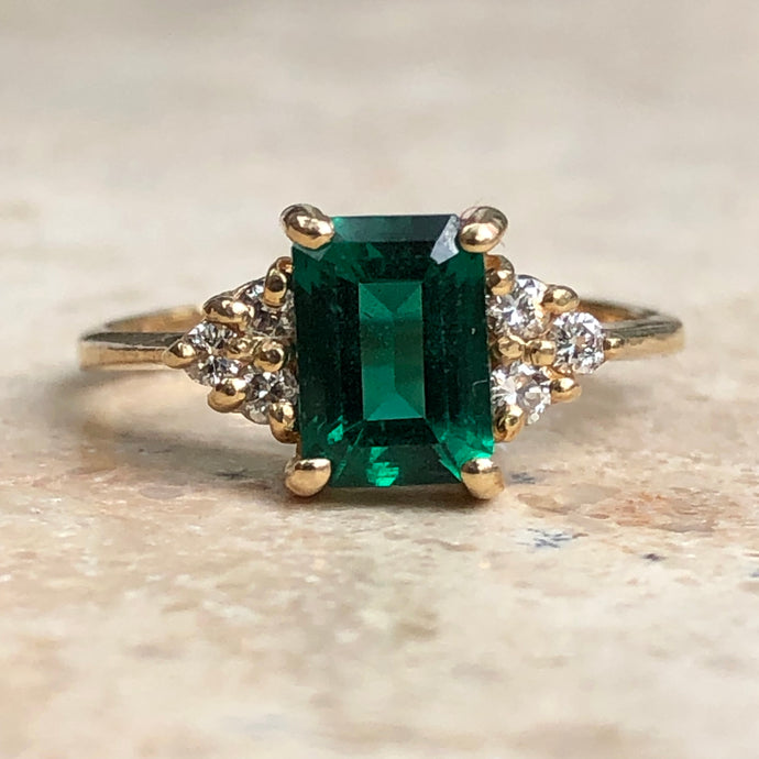 14KT Yellow Gold Lab Emerald + Diamond Estate Ring Size 4.5 - Legacy Saint Jewelry