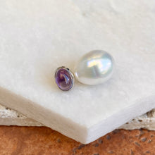 Load image into Gallery viewer, 14KT White Gold Cabochon Amethyst + 11mm Paspaley South Sea Pearl Pendant Slide #1, 14KT White Gold Cabochon Amethyst + 11mm Paspaley South Sea Pearl Pendant Slide #1 - Legacy Saint Jewelry