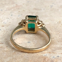 Load image into Gallery viewer, 14KT Yellow Gold Lab Emerald + Diamond Estate Ring Size 4.5, 14KT Yellow Gold Lab Emerald + Diamond Estate Ring Size 4.5 - Legacy Saint Jewelry