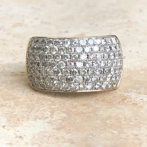 Estate 14KT White Gold + Yellow Gold Pave Diamond Cigar Anniversary Band Ring, Estate 14KT White Gold + Yellow Gold Pave Diamond Cigar Anniversary Band Ring - Legacy Saint Jewelry