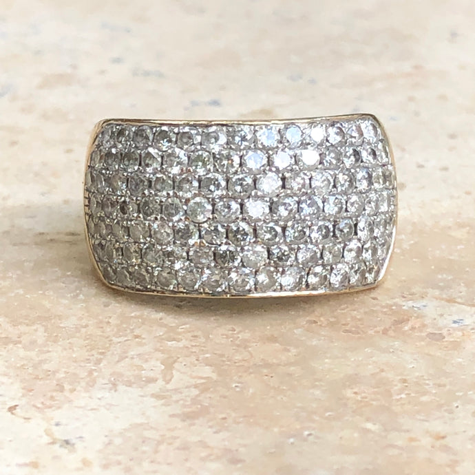 Estate 14KT White Gold + Yellow Gold Pave Diamond Cigar Anniversary Band Ring - Legacy Saint Jewelry