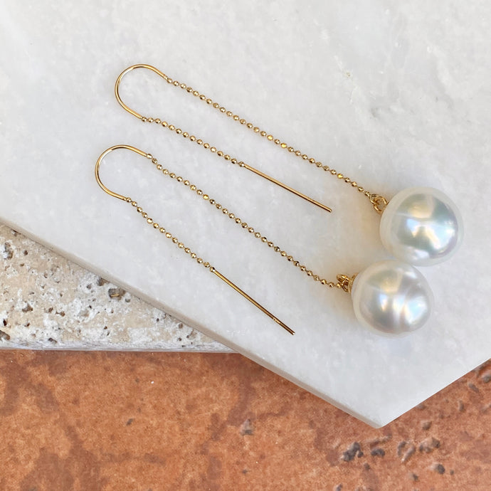 14KT Yellow Gold 12mm Paspaley Pearl Threader Curved Wire Ball Chain Earrings