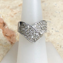 Load image into Gallery viewer, 14KT White Gold + Pave Diamond Bypass Design Cigar Estate Ring Size 7, 14KT White Gold + Pave Diamond Bypass Design Cigar Estate Ring Size 7 - Legacy Saint Jewelry