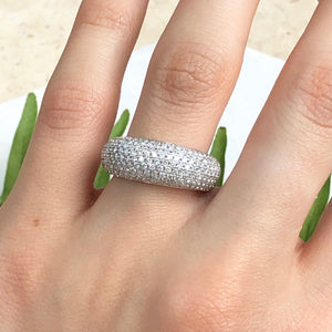 14KT White Gold + Micro Pave Diamond Wide Design Ring Size 7, 14KT White Gold + Micro Pave Diamond Wide Design Ring Size 7 - Legacy Saint Jewelry