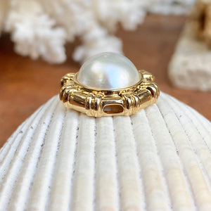 14KT Yellow Gold Detailed Round White Mabe Pearl Pendant Slide