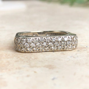 14KT White Gold Pave Diamond Bar Design Modern Contempo Estate Ring Size 7.5, 14KT White Gold Pave Diamond Bar Design Modern Contempo Estate Ring Size 7.5 - Legacy Saint Jewelry