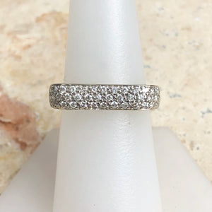 Estate 14KT White Gold .75 CT Pave Diamond Bar Design Modern Contempo Ring - Legacy Saint Jewelry