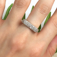 Load image into Gallery viewer, Estate 14KT White Gold .75 CT Pave Diamond Bar Design Modern Contempo Ring - Legacy Saint Jewelry