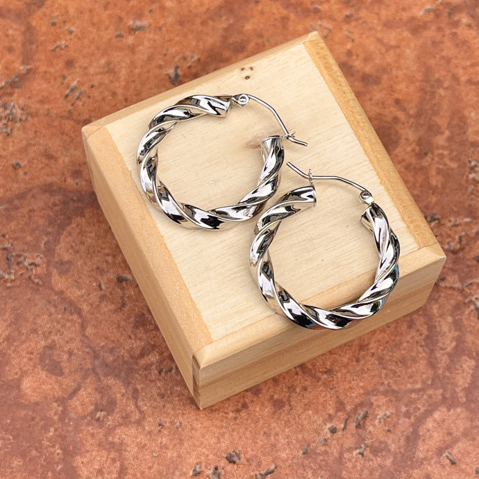 14KT White Gold Twisted 4mm Tube Hoop Earrings 25mm