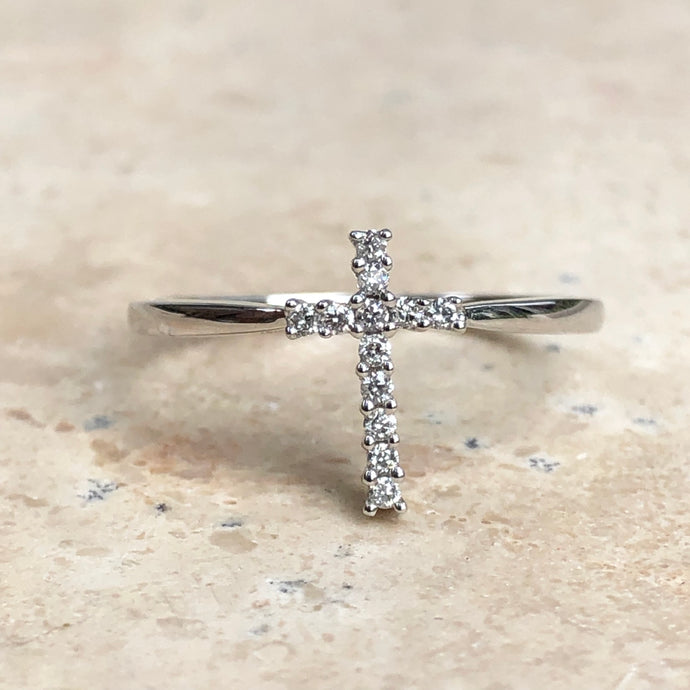 14KT White Gold + Pave Diamond Cross Ring, 14KT White Gold + Pave Diamond Cross Ring - Legacy Saint Jewelry