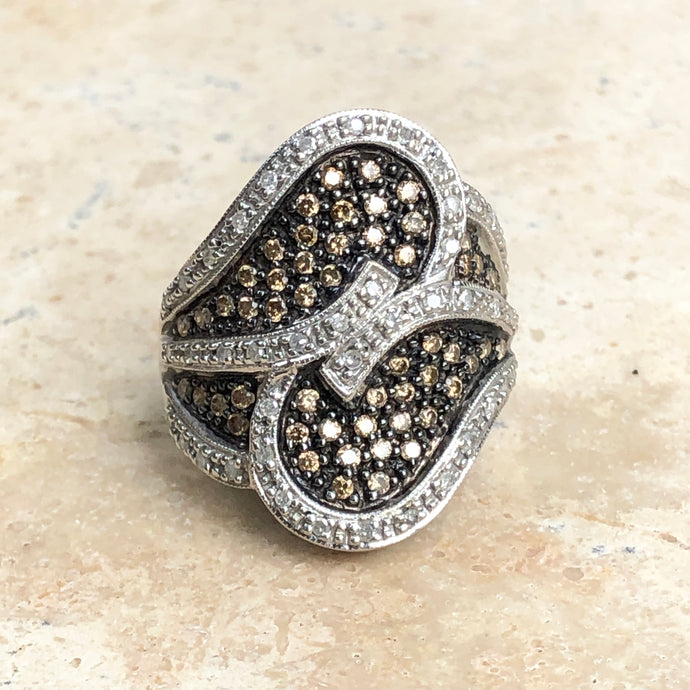 Estate 10KT White Gold .70 CT Pave White + Brown Champagne Diamond Ring - Legacy Saint Jewelry