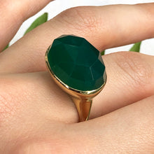 Load image into Gallery viewer, 14KT Yellow Gold + Faceted Green Agate Gemstone Estate Ring Size 7, 14KT Yellow Gold + Faceted Green Agate Gemstone Estate Ring Size 7 - Legacy Saint Jewelry