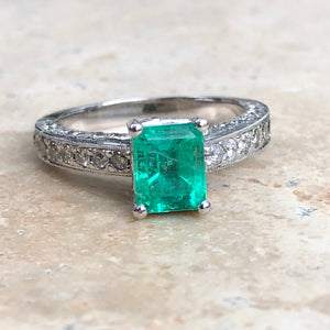 Estate 14KT White Gold Emerald + Pave Diamond Ring Size 7 - Legacy Saint Jewelry