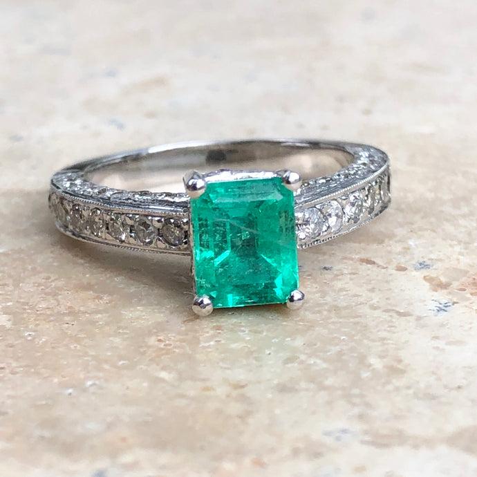 Estate 14KT White Gold Emerald + Pave Diamond Ring Size 7, Estate 14KT White Gold Emerald + Pave Diamond Ring Size 7 - Legacy Saint Jewelry