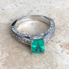 Load image into Gallery viewer, Estate 14KT White Gold Emerald + Pave Diamond Ring Size 7, Estate 14KT White Gold Emerald + Pave Diamond Ring Size 7 - Legacy Saint Jewelry