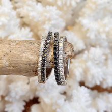 Load image into Gallery viewer, Estate 14KT White Gold .55 CT Pave Black + Diamonds Half Hoop Earrings - Legacy Saint Jewelry