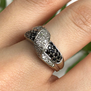 Estate 14KT White Gold Pave Black + White Diamond Cigar Band Ring Size 7, Estate 14KT White Gold Pave Black + White Diamond Cigar Band Ring Size 7 - Legacy Saint Jewelry