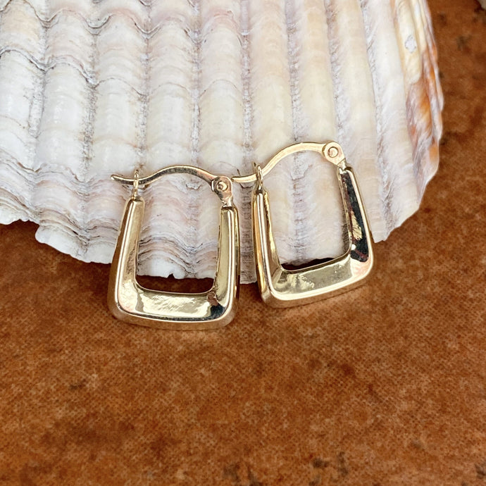 10KT Yellow Gold Squared Small Hoop Earrings