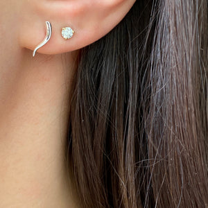 "14KT White Gold ""Cornicello"" Italian Horn Stud Earrings, 14KT White Gold ""Cornicello"" Italian Horn Stud Earrings - Legacy Saint Jewelry"