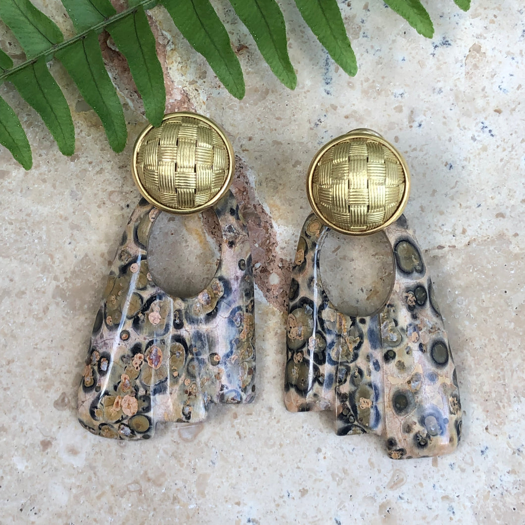 Genuine Leopard Skin Agate Hooplet Earring Charms, Genuine Leopard Skin Agate Hooplet Earring Charms - Legacy Saint Jewelry