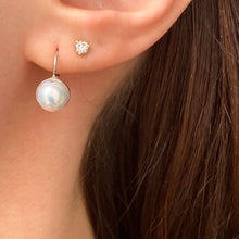 Load image into Gallery viewer, 14KT White Gold Freshwater White Pearl Euro Wire Drop Earrings, 14KT White Gold Freshwater White Pearl Euro Wire Drop Earrings - Legacy Saint Jewelry