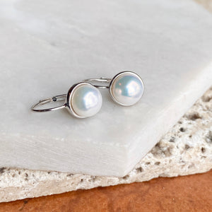 14KT White Gold Freshwater White Pearl Euro Wire Drop Earrings, 14KT White Gold Freshwater White Pearl Euro Wire Drop Earrings - Legacy Saint Jewelry