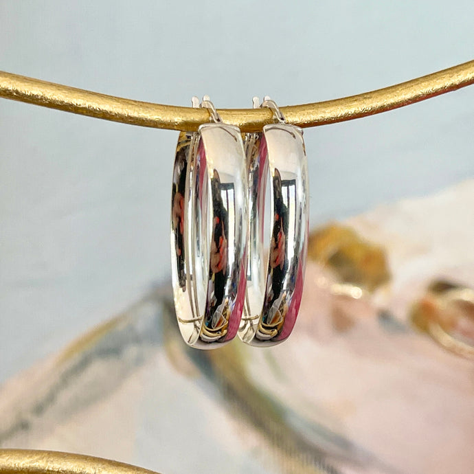 14KT White Gold Polished 6mm Oval Hoop Earrings 31mm