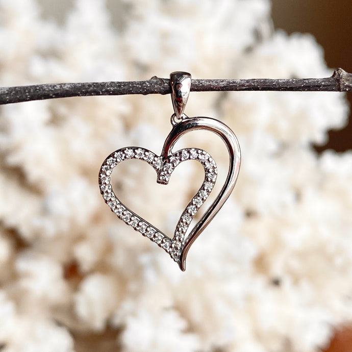 14KT White Gold .10 CT Diamond Outline Double Heart Pendant