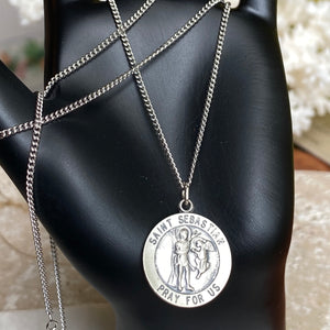 "Sterling Silver Antiqued Saint Sebastian Round Medal Pendant Chain Necklace 18"", Sterling Silver Antiqued Saint Sebastian Round Medal Pendant Chain Necklace 18"" - Legacy Saint Jewelry"