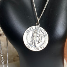 "Load image into Gallery viewer, Sterling Silver Antiqued Saint Sebastian Round Medal Pendant Chain Necklace 18"", Sterling Silver Antiqued Saint Sebastian Round Medal Pendant Chain Necklace 18"" - Legacy Saint Jewelry"