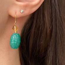 Load image into Gallery viewer, 14KT Yellow Gold Carved Green Jade Scarab Drop Earrings