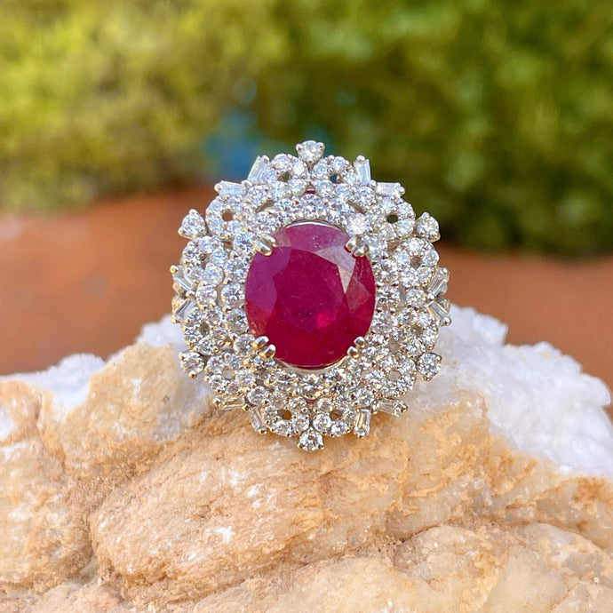Estate 18KT White Gold Oval 4.83 CT Ruby + Pave Diamond Ring