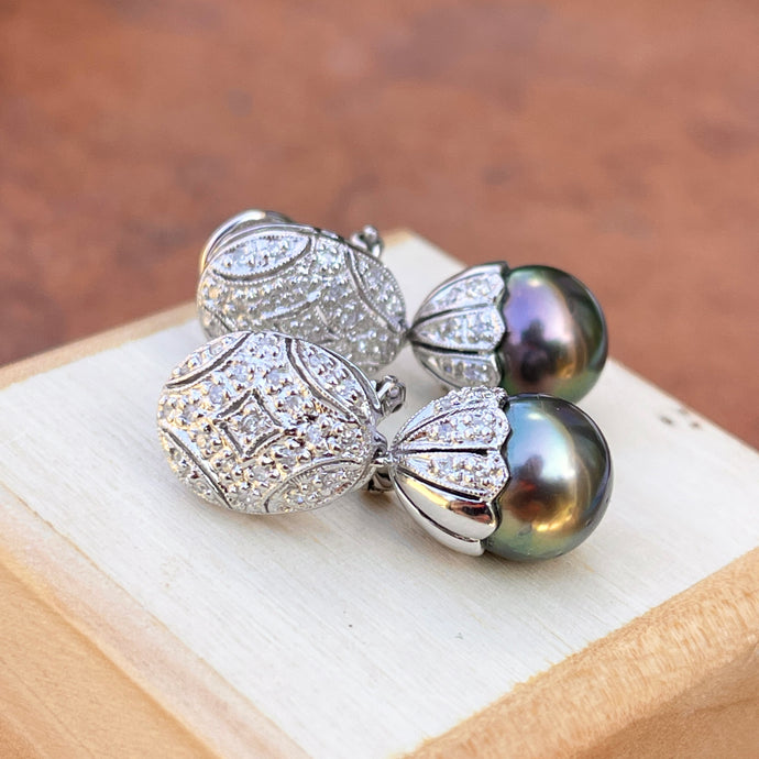 Estate 18KT White Gold Pave Diamond Filigree Omega Back Tahitian Pearl Earrings