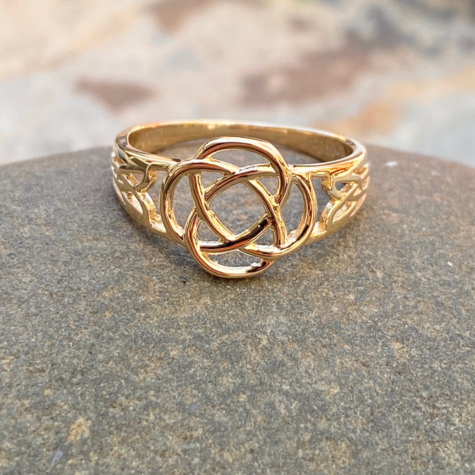 14KT Yellow Gold Polished Celtic Knot Weave Design Ring, 14KT Yellow Gold Polished Celtic Knot Weave Design Ring - Legacy Saint Jewelry
