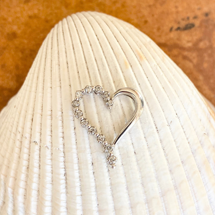Estate 10KT White Gold .35 CT Diamond Heart Pendant Slide