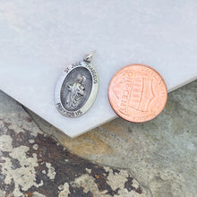 Load image into Gallery viewer, Sterling Silver Antiqued Saint Jude Oval Medal Pendant 25mm, Sterling Silver Antiqued Saint Jude Oval Medal Pendant 25mm - Legacy Saint Jewelry