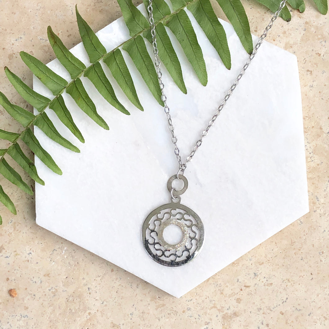 10KT White Gold Diamond-Cut Open Circle Pendant Necklace, 10KT White Gold Diamond-Cut Open Circle Pendant Necklace - Legacy Saint Jewelry