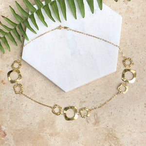 14KT Yellow Gold Shiny + Hammered Squared Circle Link Necklace, 14KT Yellow Gold Shiny + Hammered Squared Circle Link Necklace - Legacy Saint Jewelry