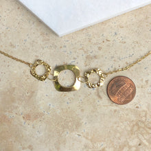 Load image into Gallery viewer, 14KT Yellow Gold Shiny + Hammered Squared Circle Link Necklace, 14KT Yellow Gold Shiny + Hammered Squared Circle Link Necklace - Legacy Saint Jewelry