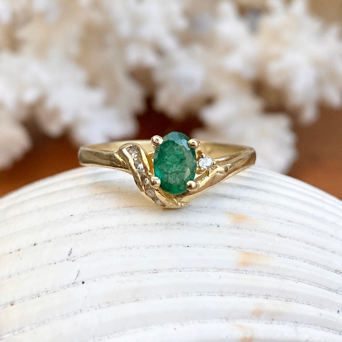 Estate 14KT Yellow Gold Oval .70 CT Emerald + Diamond Accent Ring