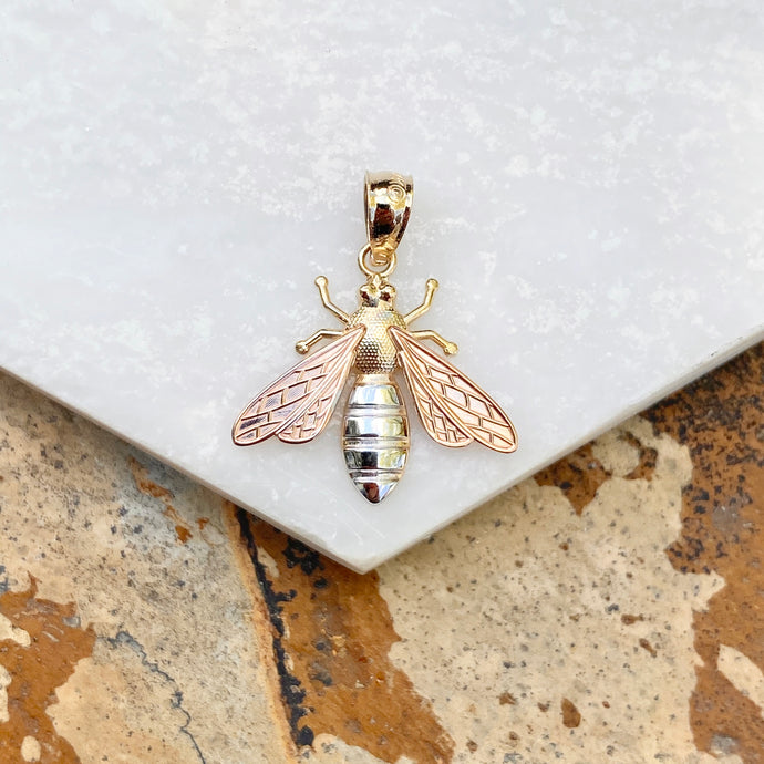 Tri-Color 14KT Yellow Gold, Rose Gold, + White Rhodium Bee Pendant Charm, Tri-Color 14KT Yellow Gold, Rose Gold, + White Rhodium Bee Pendant Charm - Legacy Saint Jewelry