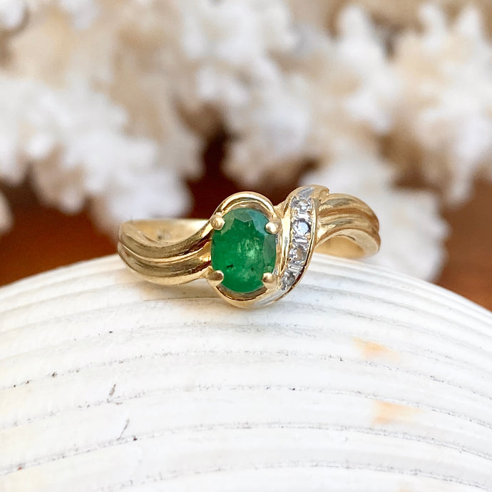 Estate 14KT Yellow Gold Oval .65 CT Emerald + Diamond Accent Ring