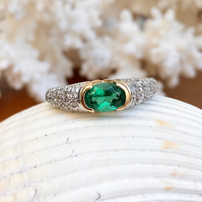 Estate 14KT White Gold + Yellow Gold Half-Bezel Lab Emerald + Pave Diamond Ring