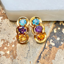 Load image into Gallery viewer, Estate 10KT Yellow Gold Blue Topaz, Amethyst, + Citrine Curved Drop Earrings, Estate 10KT Yellow Gold Blue Topaz, Amethyst, + Citrine Curved Drop Earrings - Legacy Saint Jewelry