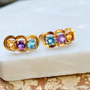 Estate 10KT Yellow Gold Blue Topaz, Amethyst, + Citrine Curved Drop Earrings, Estate 10KT Yellow Gold Blue Topaz, Amethyst, + Citrine Curved Drop Earrings - Legacy Saint Jewelry