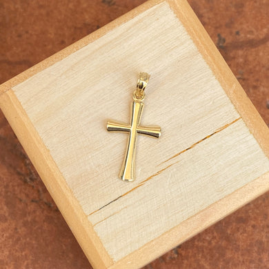 10KT Yellow Gold Beveled Cross Pendant Charm