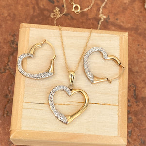 14KT Yellow Gold + White Gold Heart Pendant Necklace + Hoop Earring Set