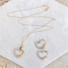 Load image into Gallery viewer, 14KT Yellow Gold + White Gold Heart Pendant Necklace + Hoop Earring Set