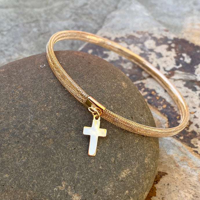 14KT Yellow Gold Mesh Stretch with Cross Charm Bangle Bracelet, 14KT Yellow Gold Mesh Stretch with Cross Charm Bangle Bracelet - Legacy Saint Jewelry
